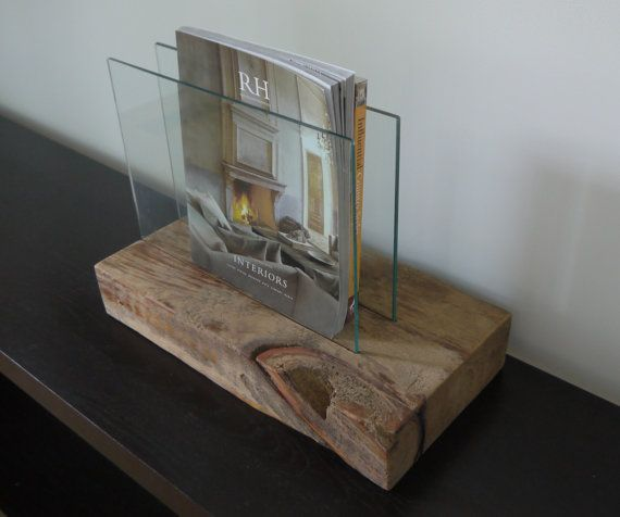 Modern Rustic Magazine Holder. Reclaimed Wood And Glass