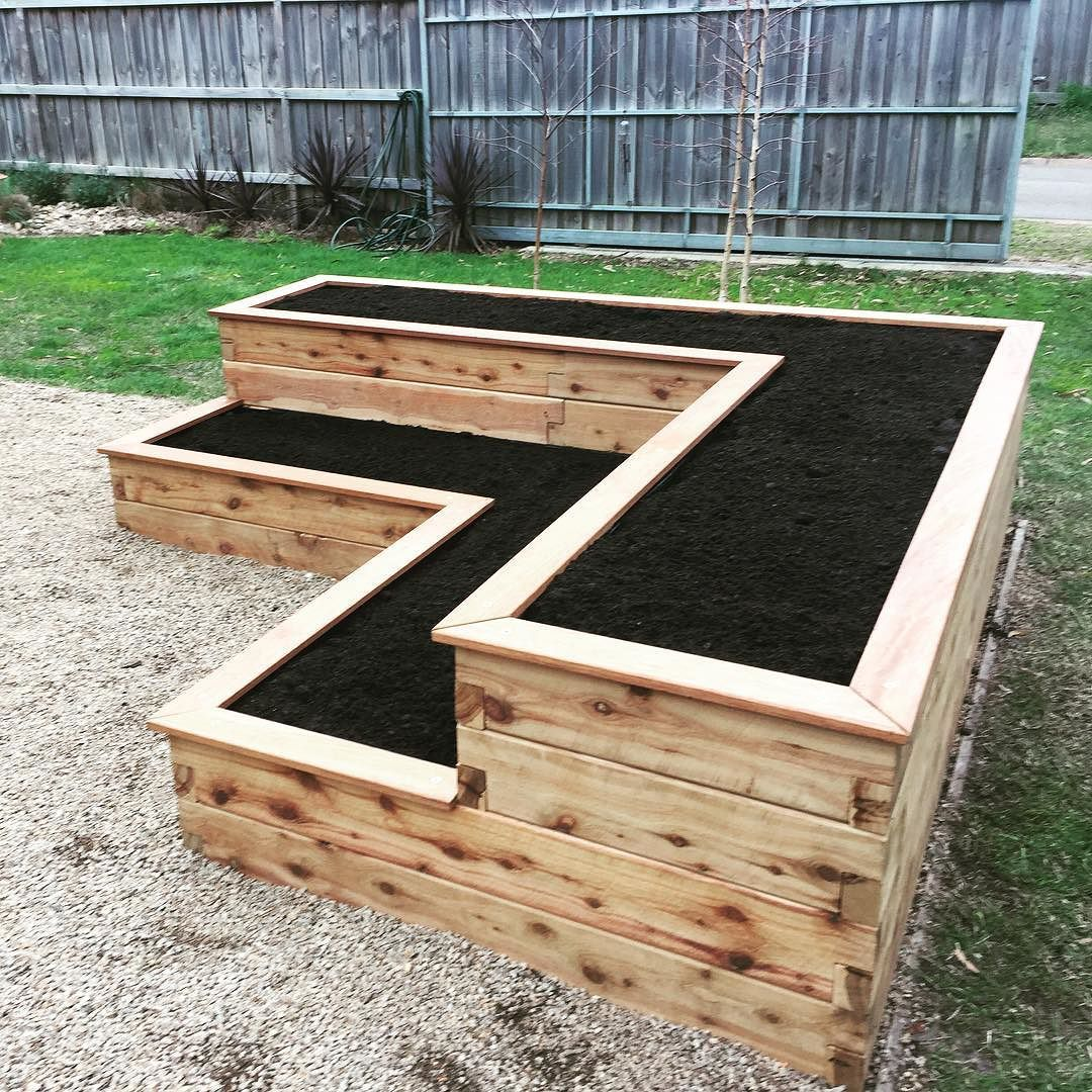 Custom Modbox L Shaped With Two Tiers 2 4m X 2 4m X 60cm High Modboxes Raisedbeds Garden Diy Raised Garden Raised Garden Bed Plans Raised Garden Beds Diy