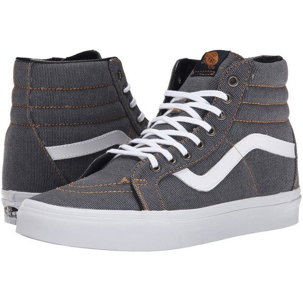 Vans SK8-Hi Reissue Tortoise Shell) Skate Shoes (£30) ❤ liked on Polyvore featuring shoes, sneakers, vans, grey, leather skate shoes, vans shoes, leather sneakers, leather trainers and print shoes