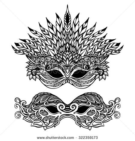 Decorative carnival mask set with feathers and ornaments isolated vector illustration