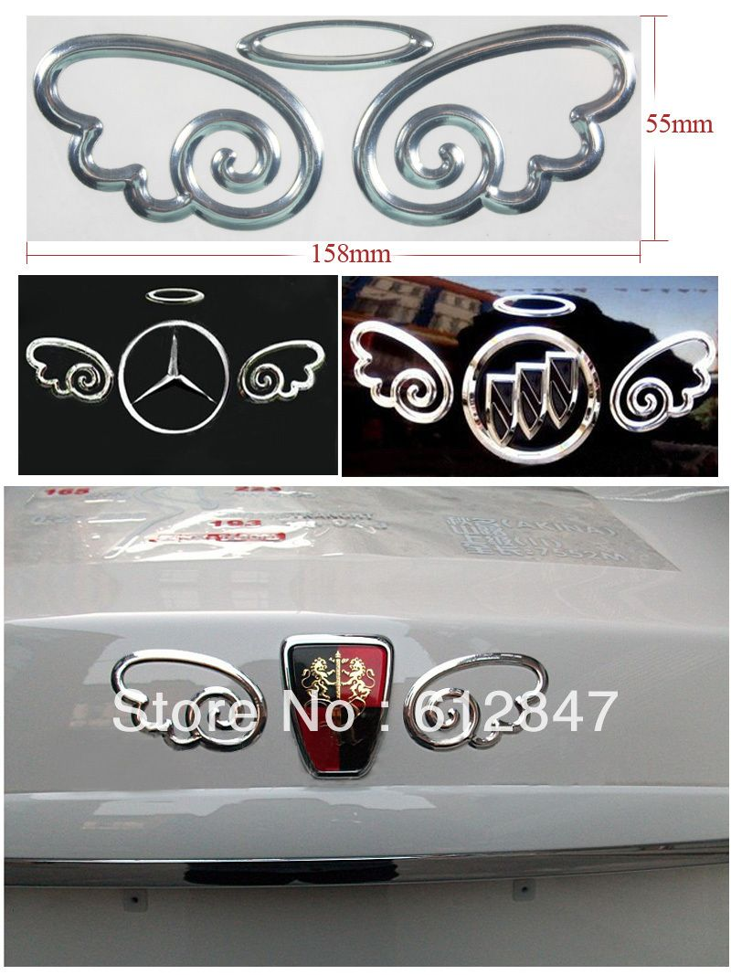 Free Shipping 3d Devil Angel Wing Decal Sticker Car Emblem For Benz