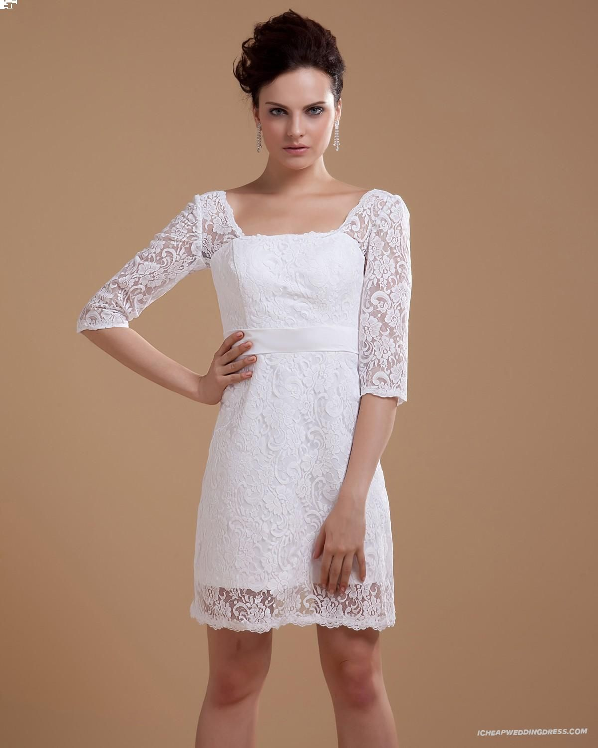 Mini white wedding dress  Three Quarter Sleeve Lace Square Neck Mini Wedding Dresses I I
