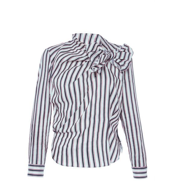 Isabel Marant     Mista Collar Tie Shirt ($530) ❤ liked on Polyvore featuring tops, red, tie shirt, red top, shirt tops, blue shirt and blue collared shirt