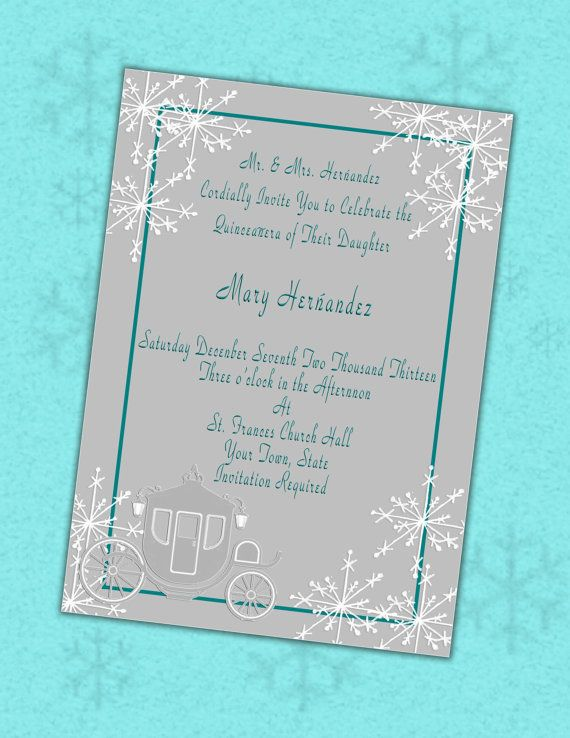 quinceanera winter invitations or sweet 16 winter party invitations