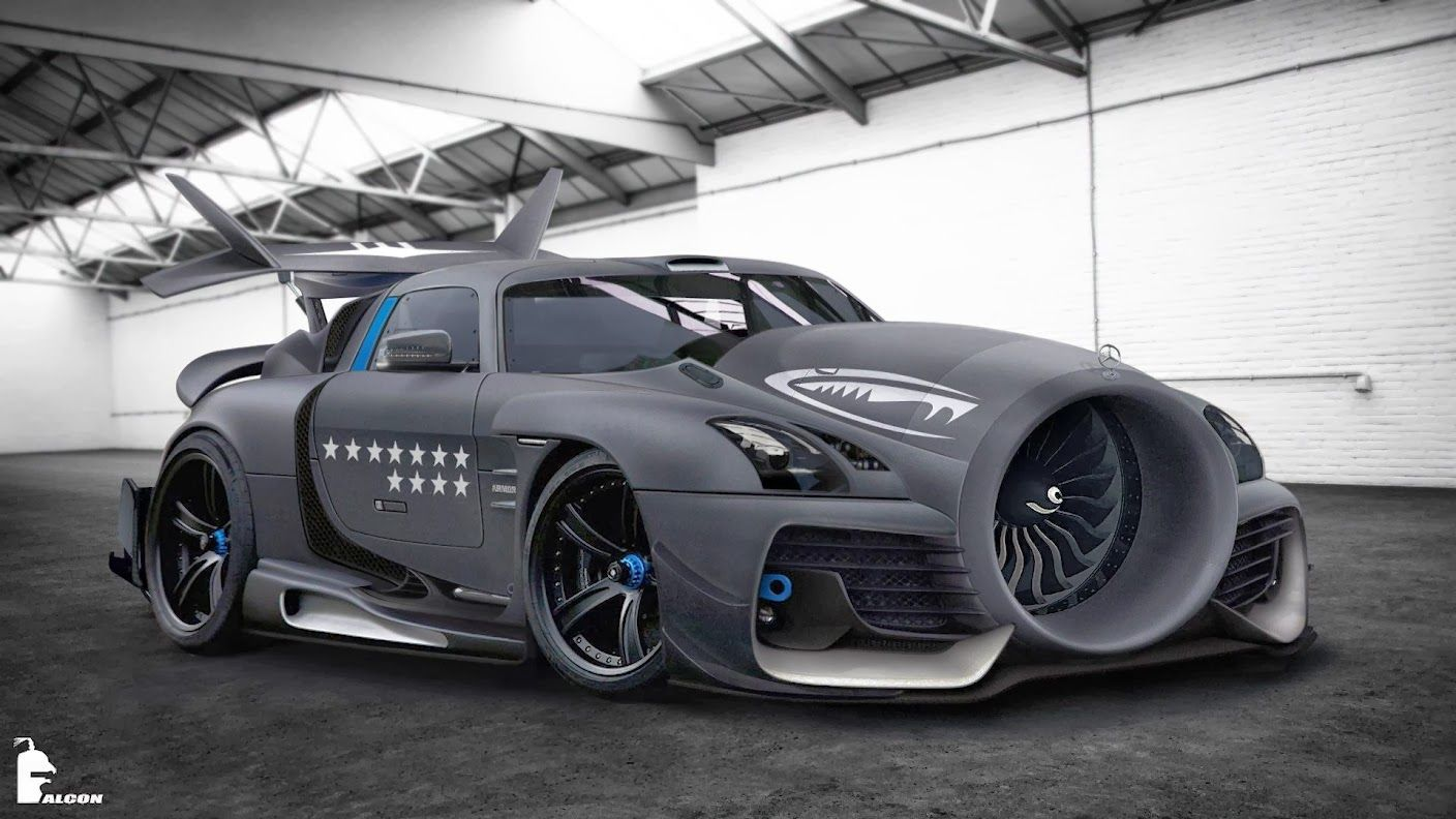 New Type Of Jet Intake For A Mercedes Benz Sls Amg We All Need This Jet Engine On The Front Of Our Cars Mercedesben Weird Cars Concept Cars Futuristic Cars