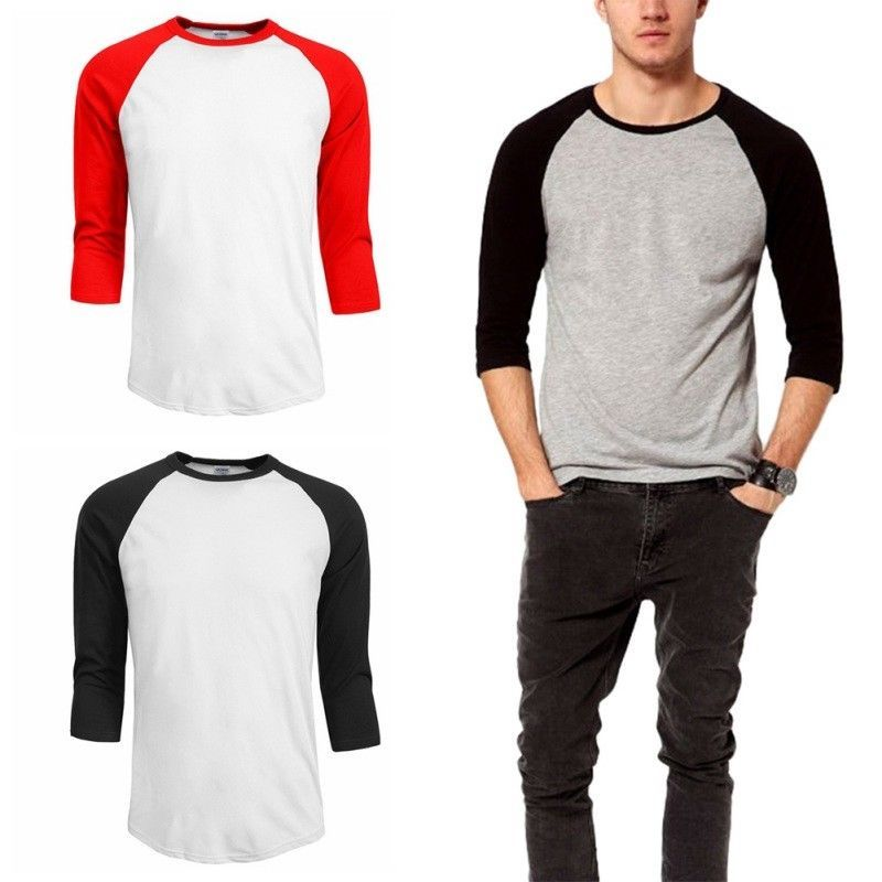 1a8f99f20b1e59 3/4 Sleeve Baseball T Shirt Mens Plain Tee Jersey Team Sports Solid US S/M/L/2XL@ebay  @pinterest #fashion #girls #women #men #beauty #shop