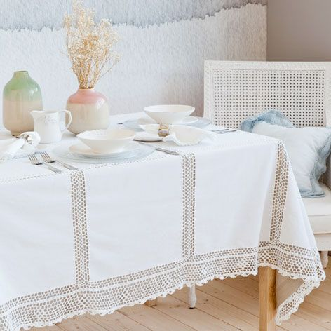 Tovaglia e tovagliolo cotone crochet tovaglie sala da for Tovaglie zara home