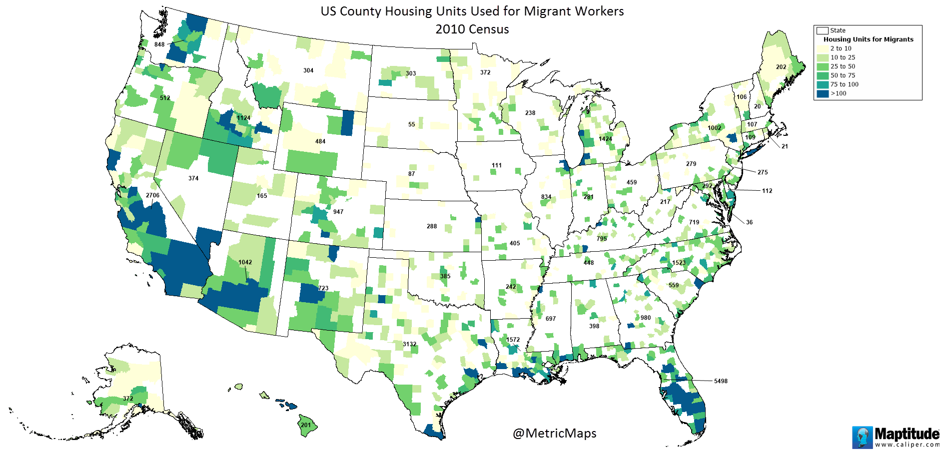 U.S. County Housing Units Used for Migrant Workers