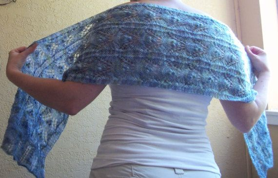 Lace Scarf Wrap Stole in Soft Blue & Green by TerahClassyCreations, $250.00