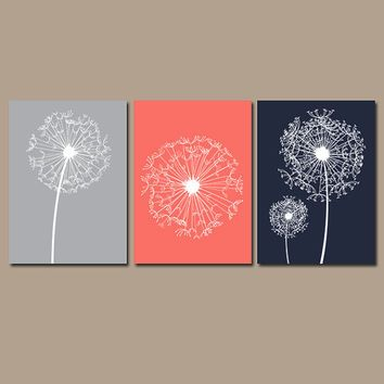 DANDELION Wall Art Coral Navy Gray Flower Artwork Custom Colors Modern  Nursery Set Of 3 Prints
