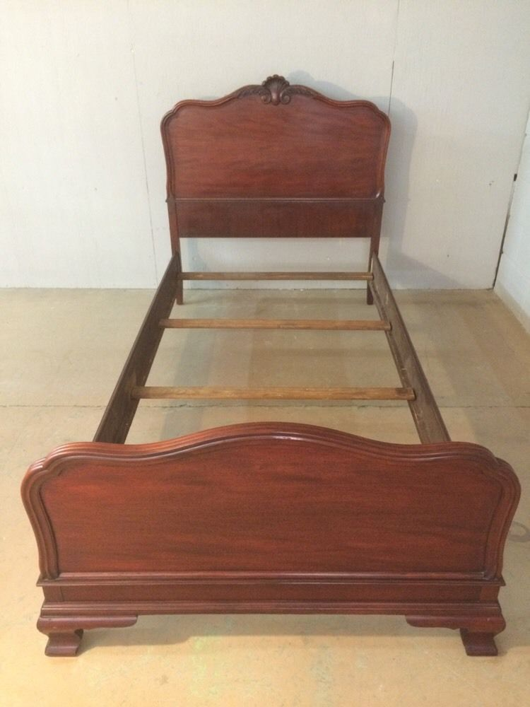 Antique Twin Size Single Bed Mahogany Chippendale Table Rock Furniture Co N C Farmhouse Chic Table Rock Mahogany
