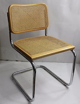 80's Breuer Chrome Metal Cane Chair Wicker Dining Office