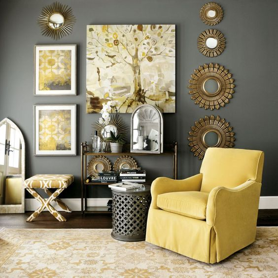 Ideas deco para una sala de estar en gris y amarillo for Deco sala de estar pequeno espacio
