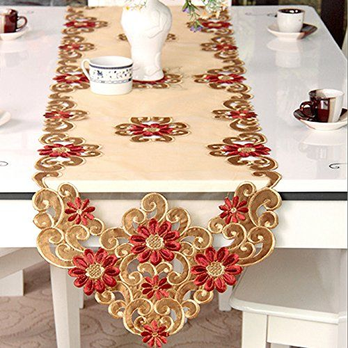 Yazi Luxury Dresser Scarf Table Runner With Embroidery Flower Dining Table Linens Runners Cloth 15 7inch By 106inch Table Linens Luxury Dresser Table Runners