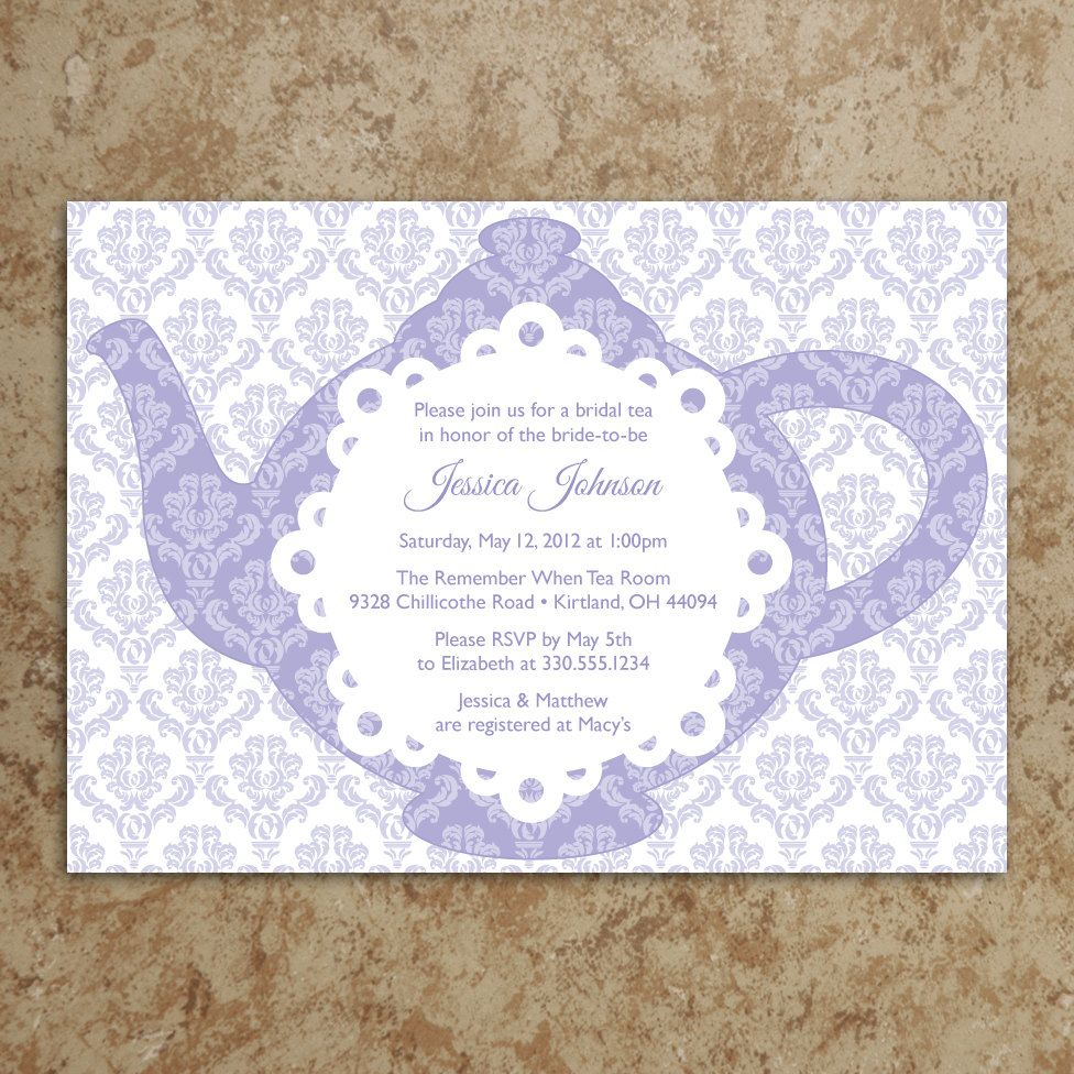 invitation tea party invite baby shower invitation bridal shower