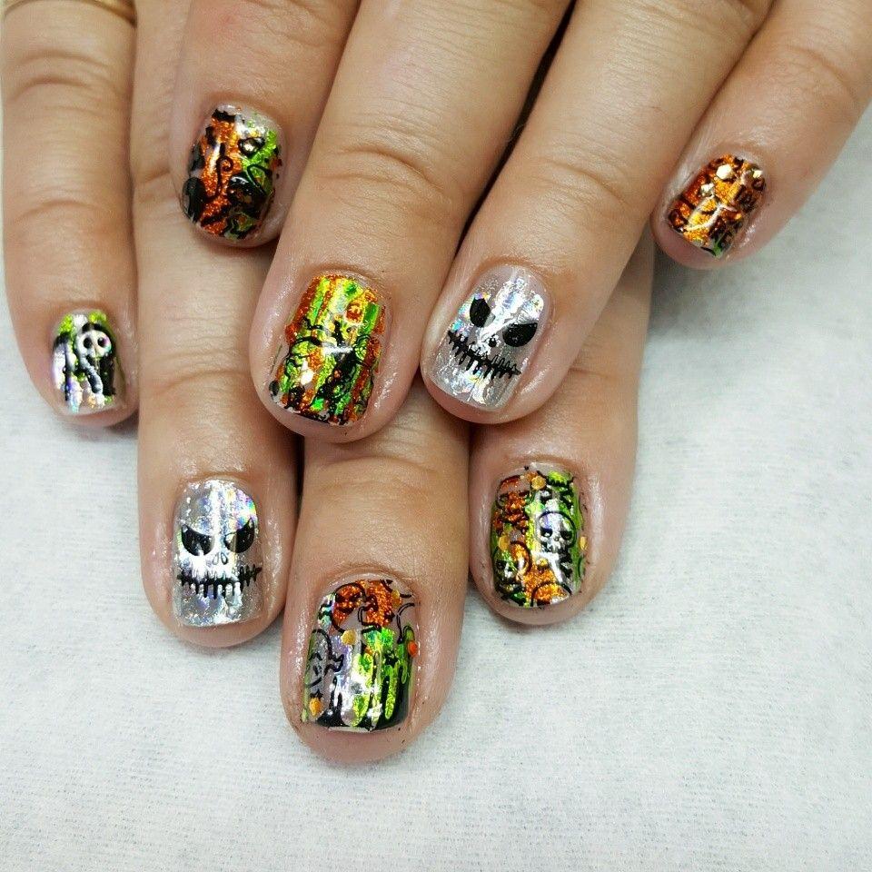 Custom shellac manicure, Halloween | Shellac manicure ...