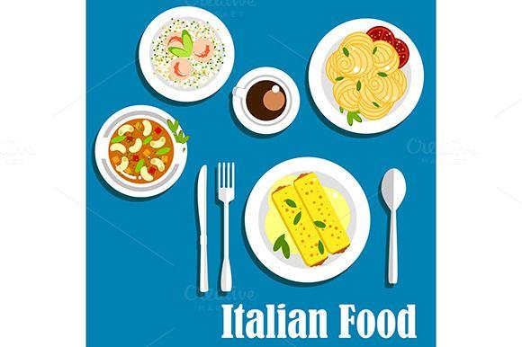 Dishes Of Italian Cuisine Italian Cuisine Food Drawing Cuisine