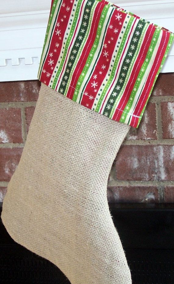 Christmas stocking from Burlap by nowhiningpleez on Etsy, $17.95