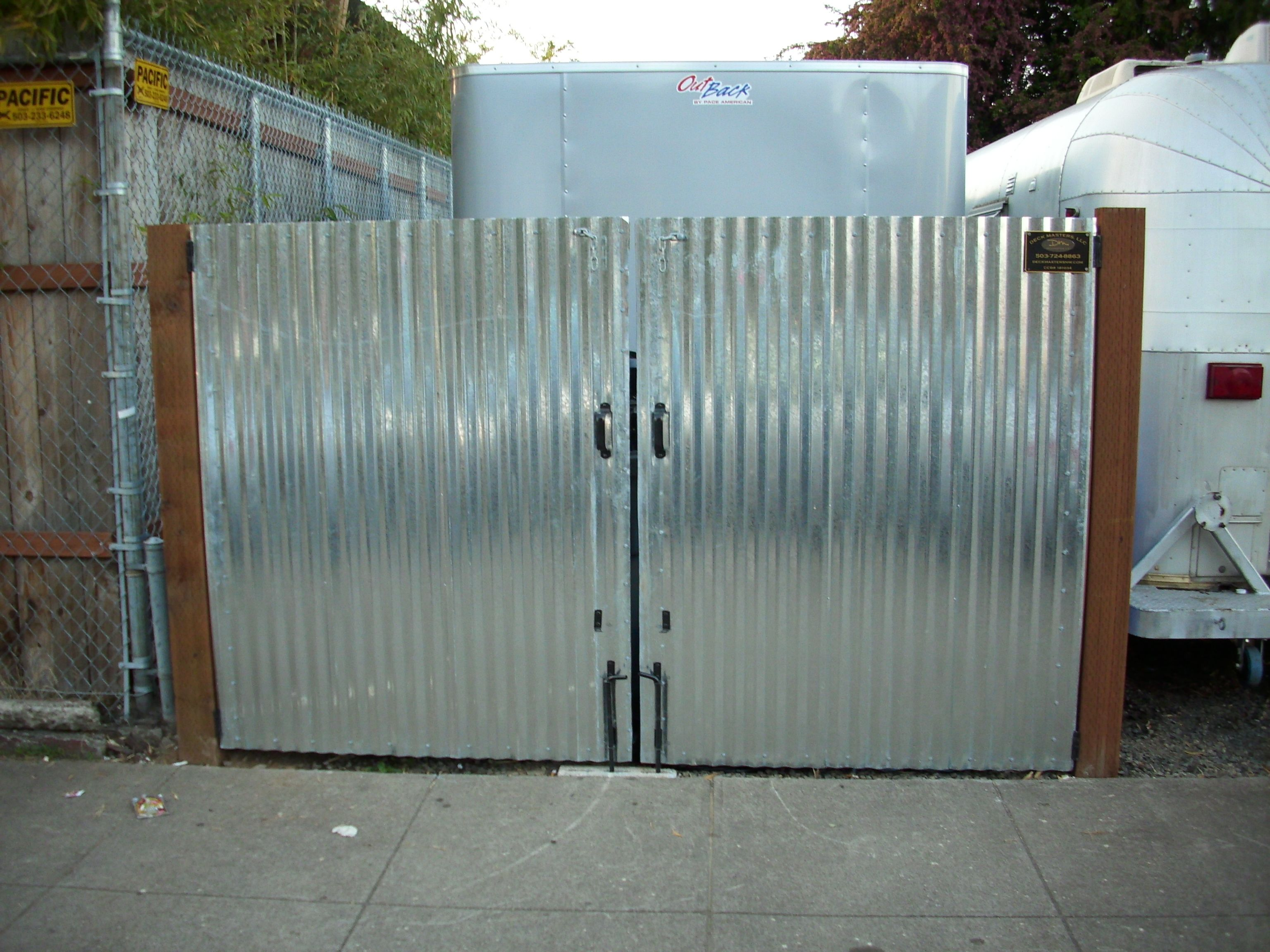 Galvanized steel frame drive gate fence dallas wood gate - Corrugated Metal Gate