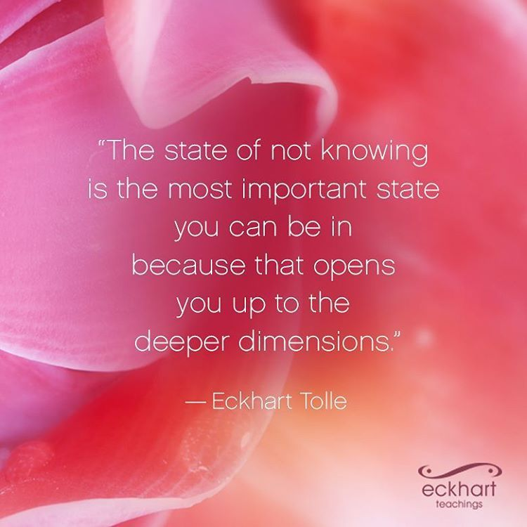 """""""The state of not knowing is the most important state you can be in because that opens you up to the deeper dimensions."""" ~Eckhart Tolle"""