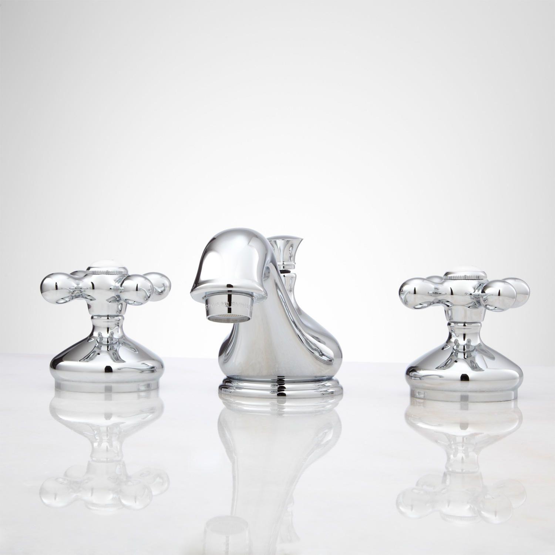 Deco Widespread Bathroom Faucet Small Porcelain Cross Handles