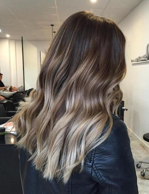Dark Brown Hair With Ash Blonde Ombre Highlights Hair Styles Balayage Hair Blonde Ombre