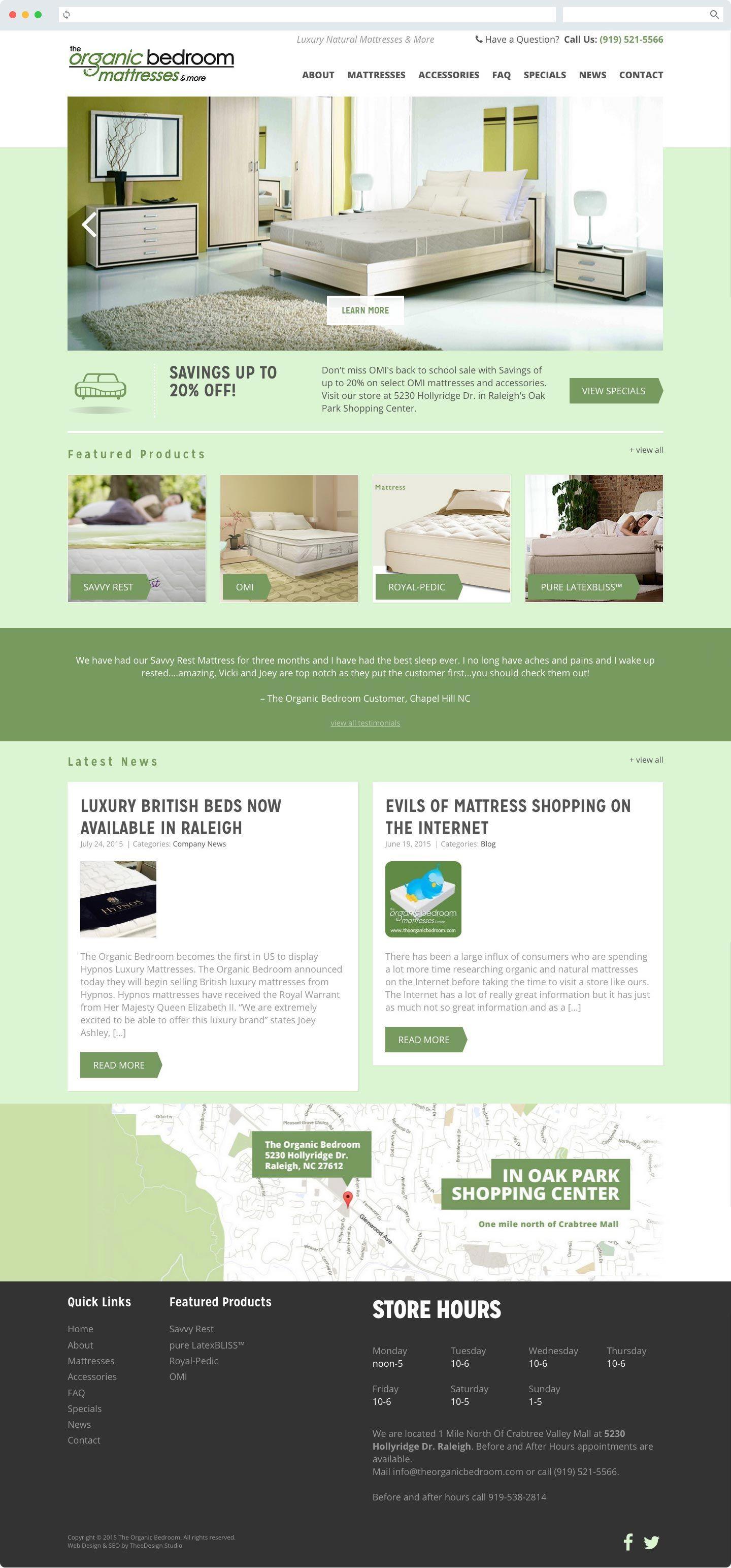 Webdesign We Created For A Nearby Raleigh Mattress Store Professional Web Design Mattress Design