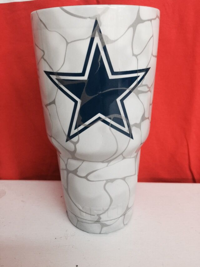 Dallas Cowboys With Silver Swirl 30oz Yeti Cup Lonestar