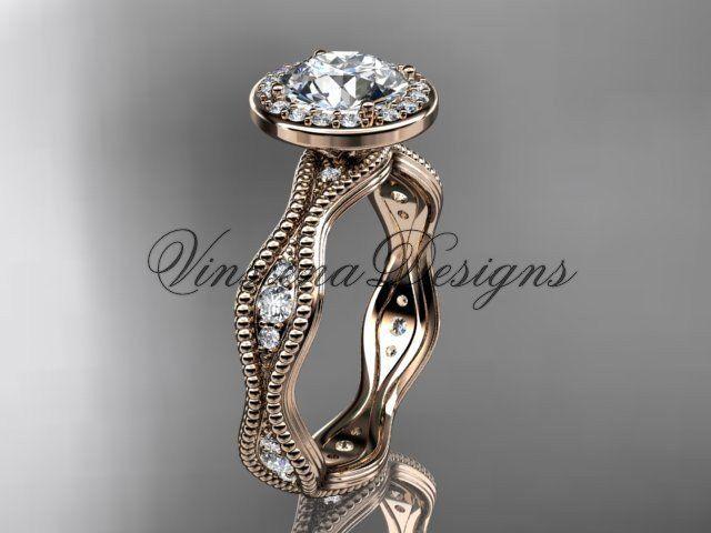 14k rose gold diamond engagement ring VD10081
