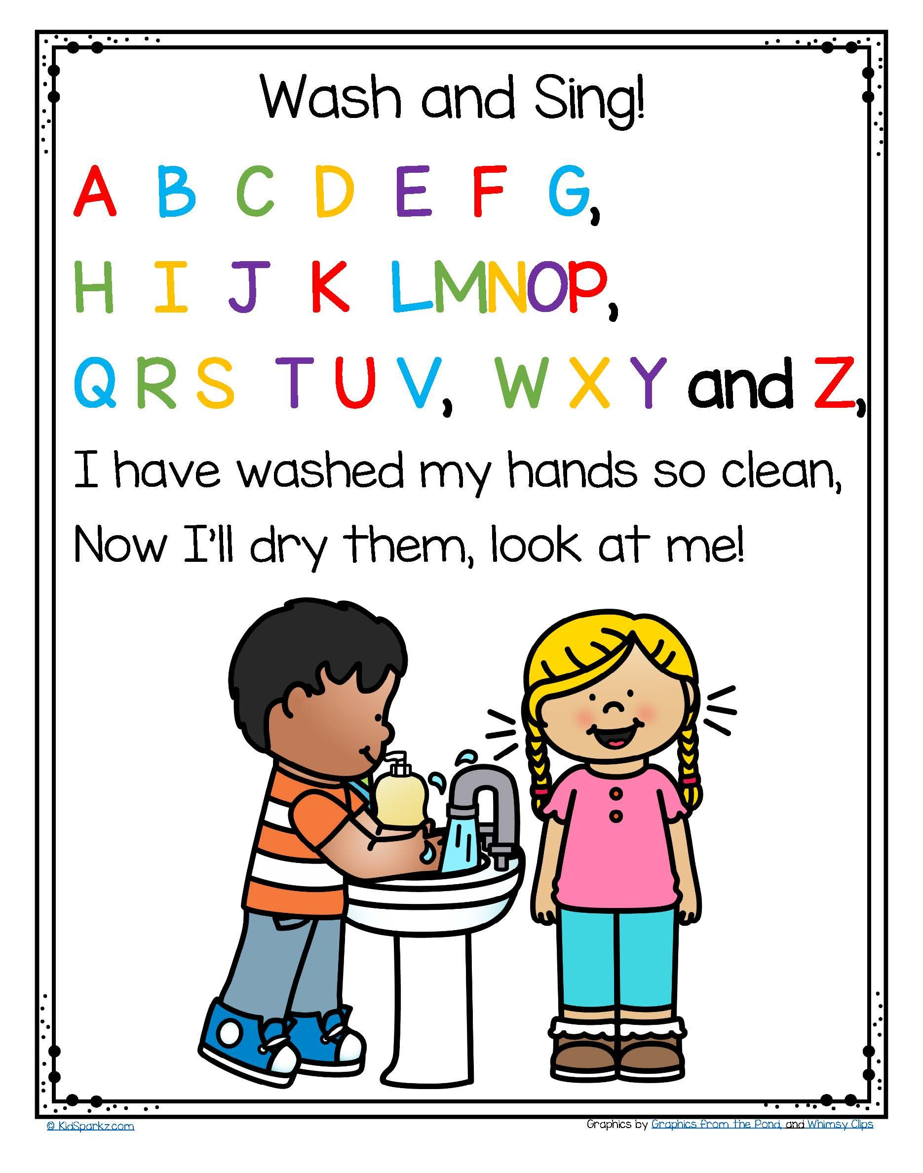Free Wash Your Hands And Sing The Abc Song Poster In Color And B W Preschool Songs Classroom Songs Preschool Classroom [ 2376 x 1870 Pixel ]
