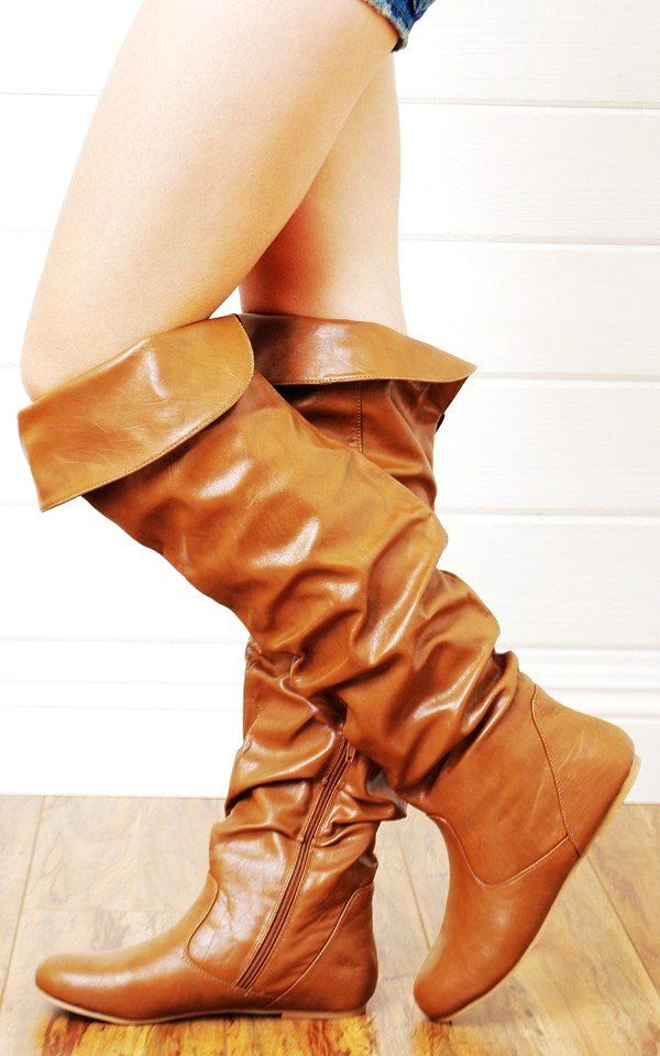 Leather Knee High Lace up Boots No Heel Boots like these! Brown ...