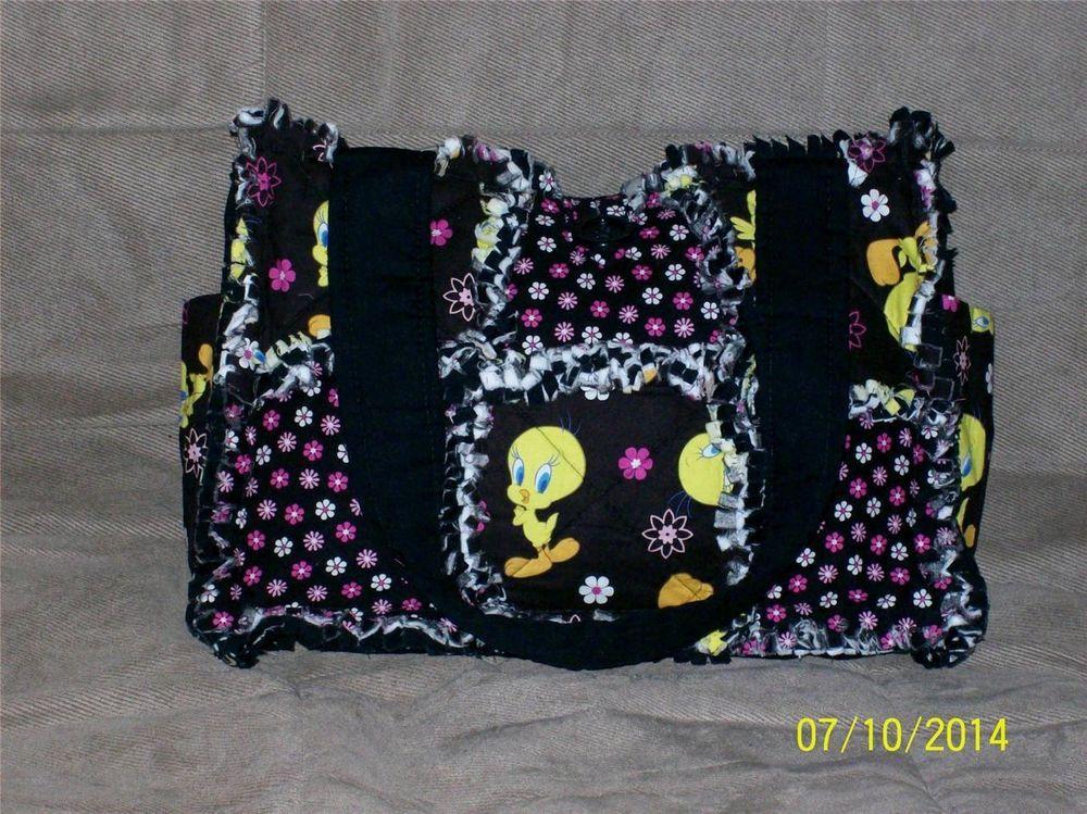 Tweety Bird CUTE Black Yellow Rag Quilt Diaper Bag Tote Purse Great Gift