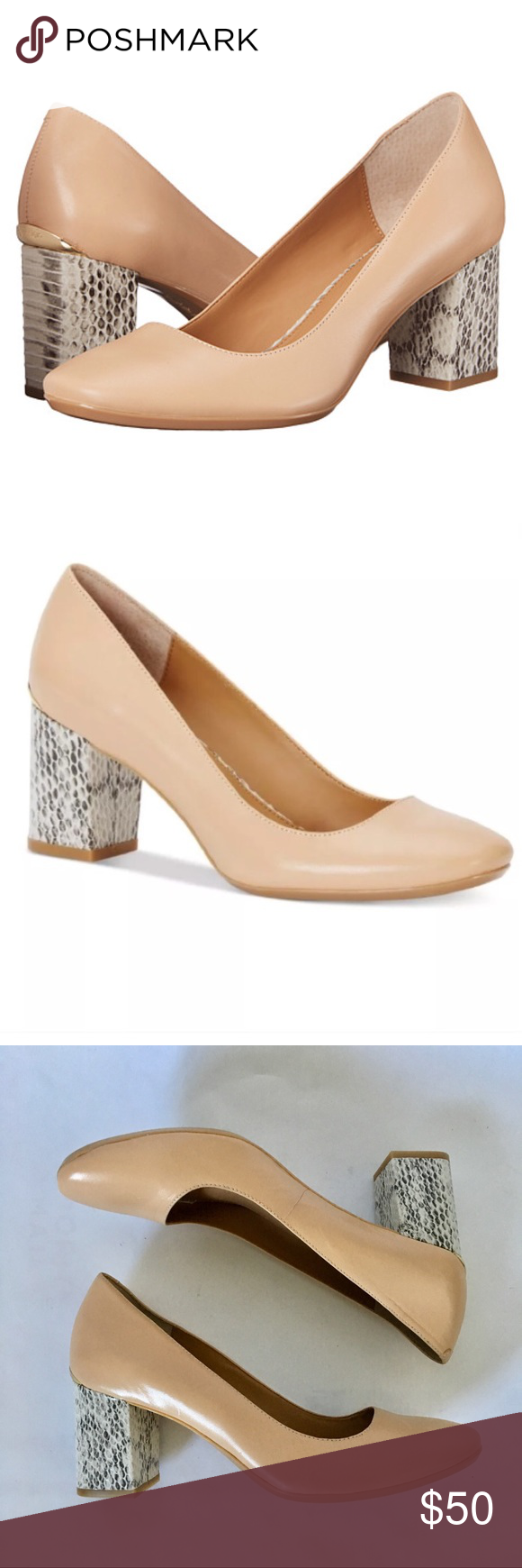 """5c8505fb49 New Calvin Klein nude block heels Beautiful brand new leather Calvin Klein """" Cirilla"""" block heel pumps. Color is nude with gray and white python-print  ..."""