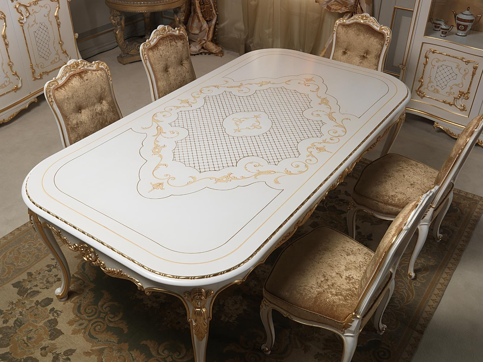 Lovely Dining Table In Louis XV Style With Rich Carvings Executed By Hand, Carved  And Upholstered