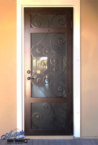 Wrought Iron Security Screen Door With Scroll Work