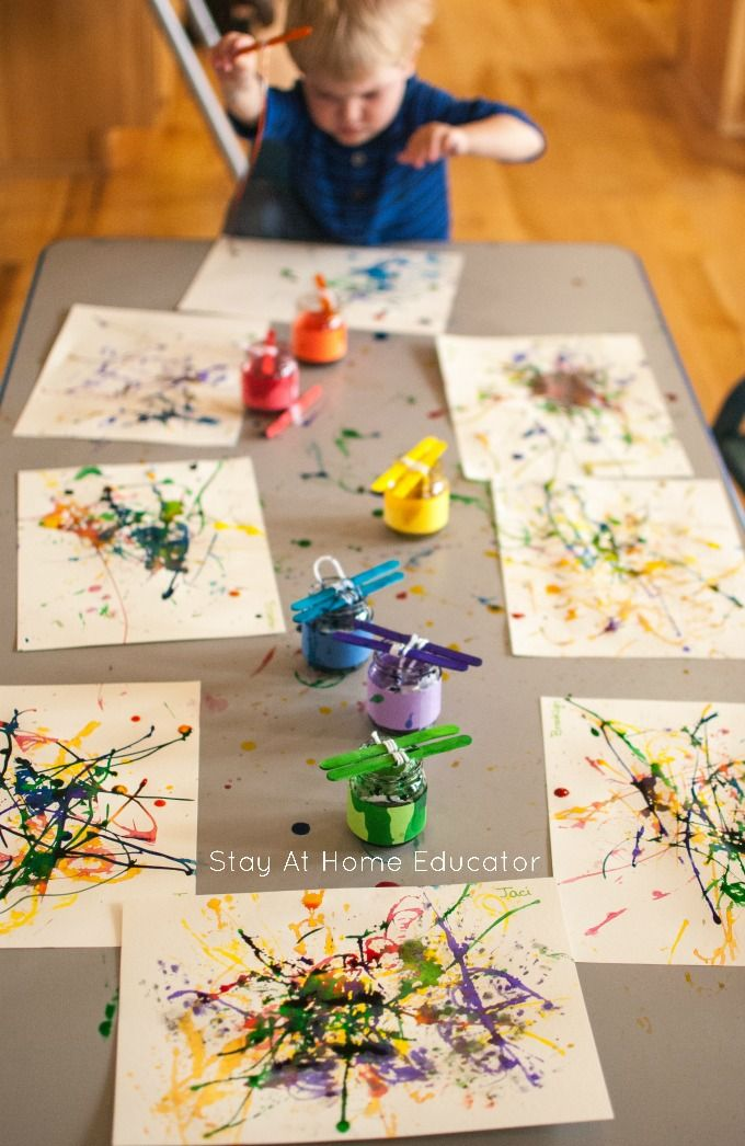 painting with yarn process art activity for toddlers pinterest