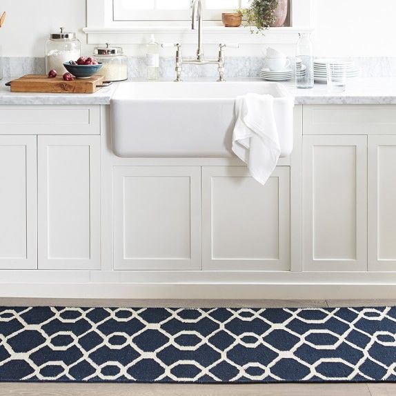 Scroll Tile Kitchen Rug Blue