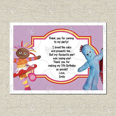 Personalised In The Night Garden Matching Thank You Cards Inc Envelope Birthday Love Thank You Cards Cards