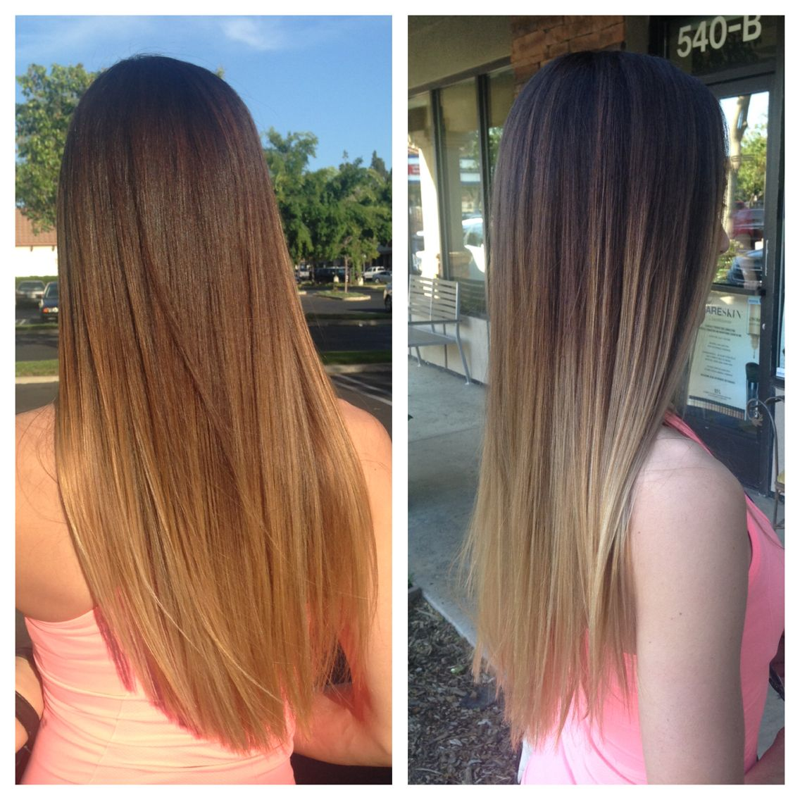 Dark Hair Ombre High Contrast Dark Root Blonde Ends Long Straight