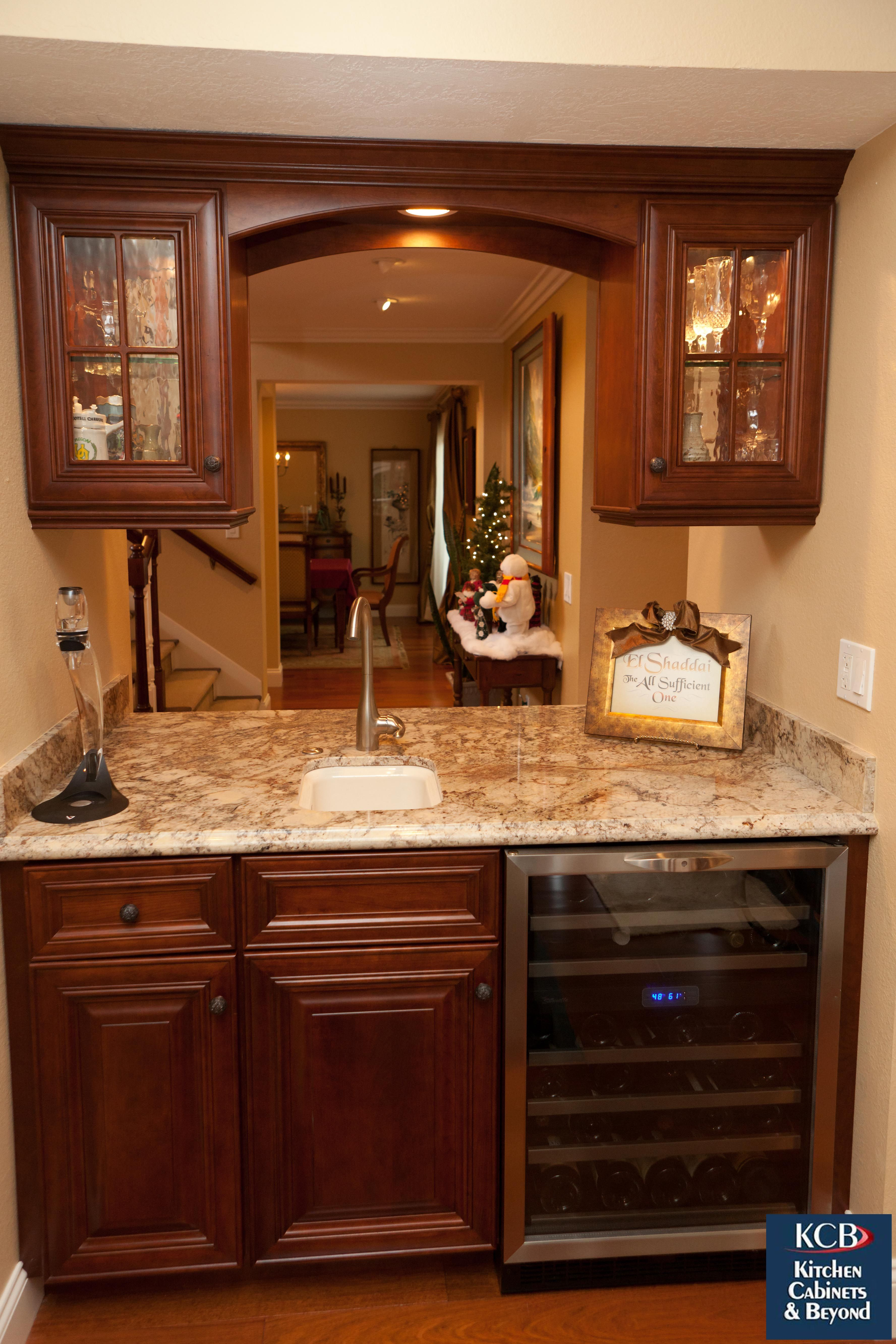 Built In Bar With Wine Refrigerator Marble Counter Top Built In Sink Cherry Cabinets With Glass Homedesign Kitchen Remodel Built In Bar Kitchen Cabinets
