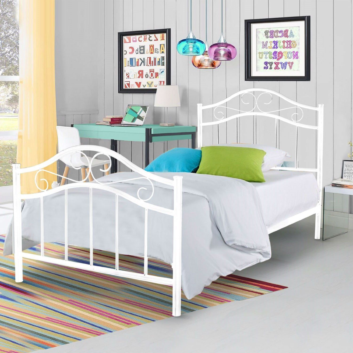 Twin size Metal Platform Bed Frame with Headboard and