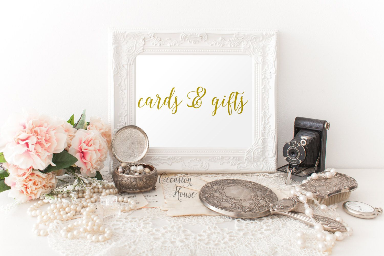 Printable wedding signs, Cards and gifts signs, 5x7, gold lettered wedding sign, wedding signage, wedding decor, INSTANT DOWNLOAD by OccasionHouse on Etsy