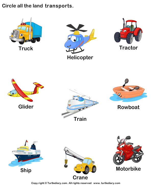Preschool Vocabulary Worksheet: Identify land transports ...