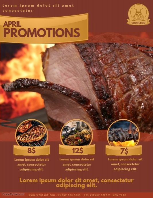 Barbecue Restoran Promotion Offer Flyer Template Free Restaurant