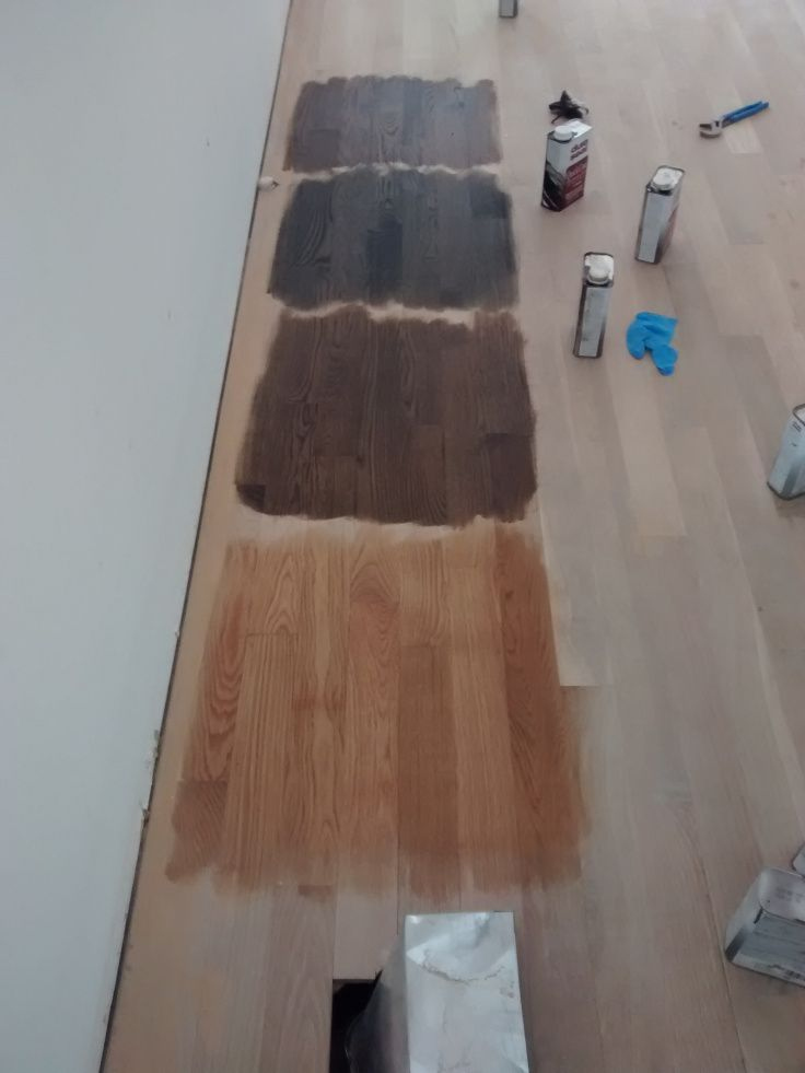 Four Stains In A Row On Sanded White Oak Flooring Top To Bottom Jacobean Ebony Dark