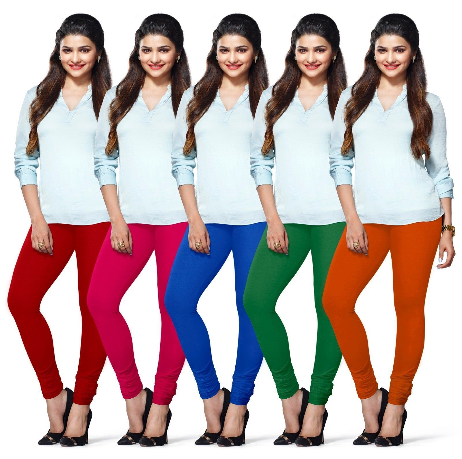 f57a60c8c4a455 World Famous Brand Lux Lyra Womens Cotton Leggings Indian Churidar (Pack Of  5)