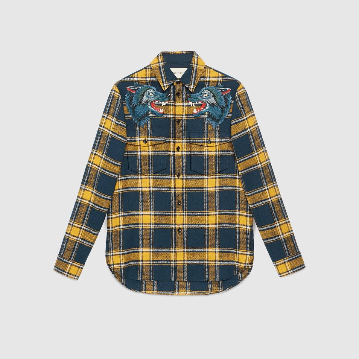 1036d2ef9f GUCCI Plaid shirt with wolf embroidery - yellow blue plaid.  gucci  cloth