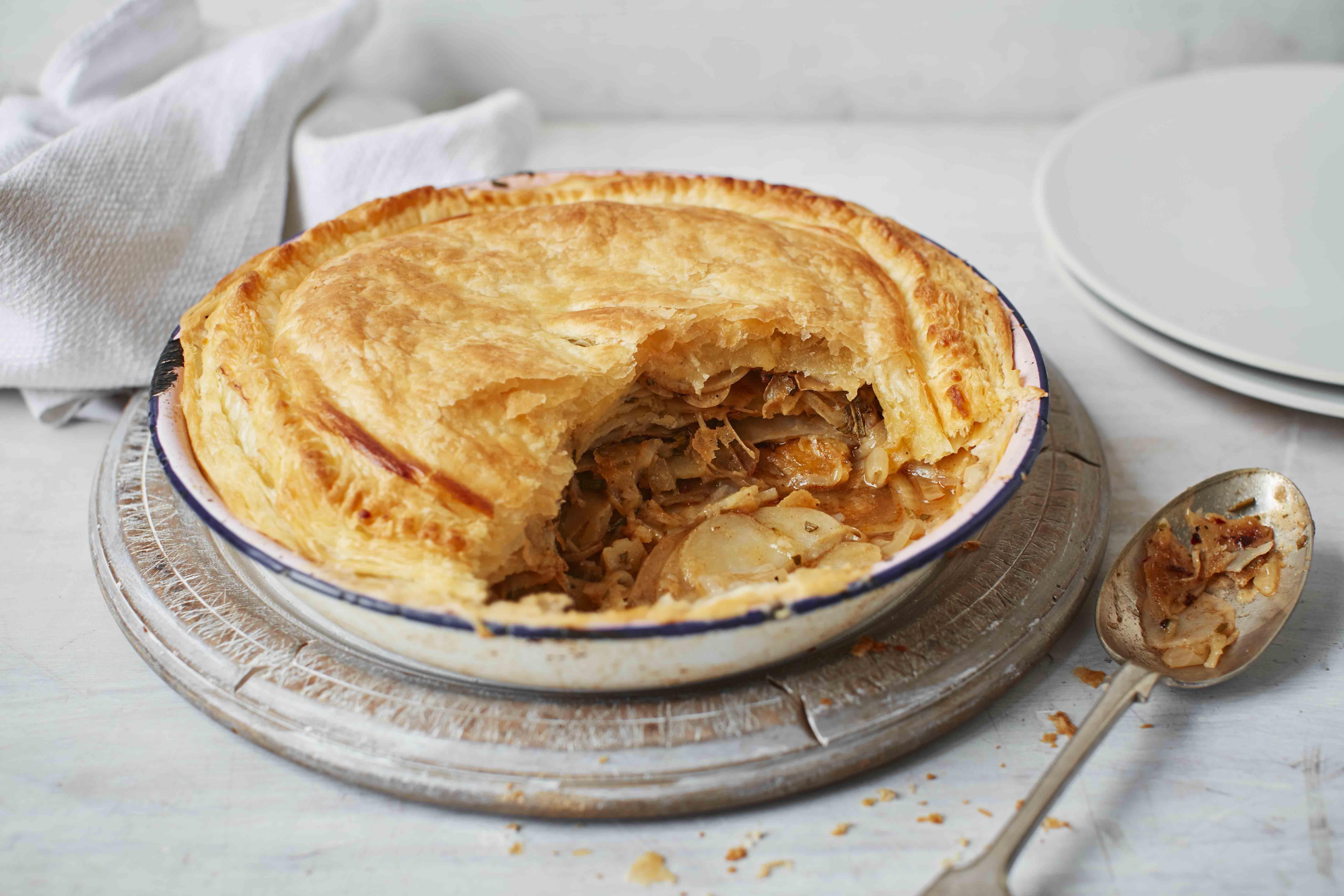 Vegan potato, rosemary and onion pie recipe