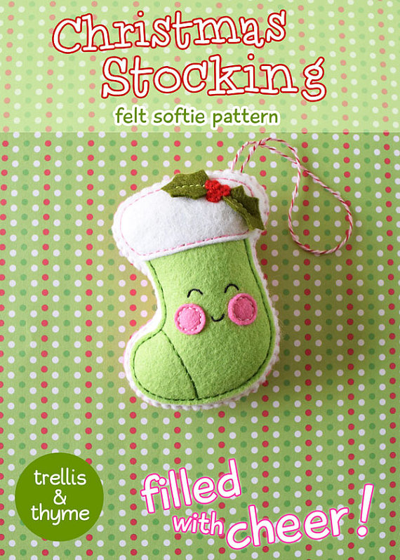 PDF Pattern - Christmas Stocking Felt Pattern, Kawaii Felt Ornament ...