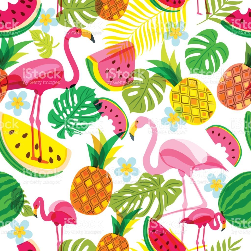 Vector Seamless Tropical Pattern With Pink Flamingo Palm